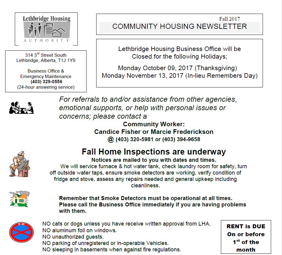 Community Housing Fall 2017 Newsletter
