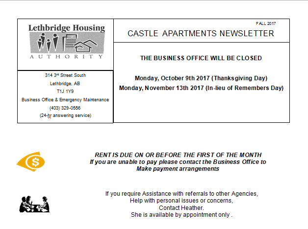 Castle Apartments Fall 2017 Newsletter
