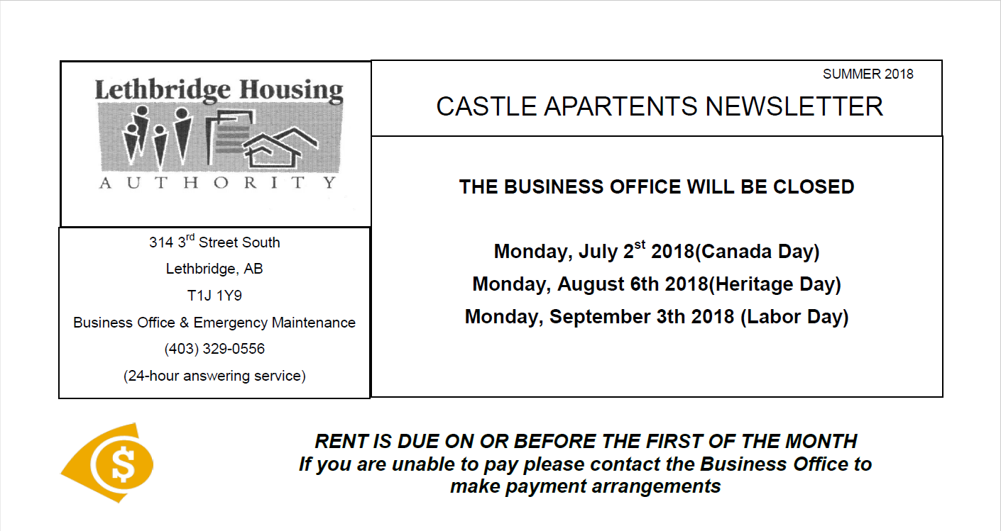 Castle Apartments Summer 2018 Newsletter