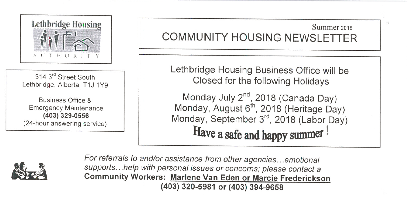 Community Housing Summer 2018 Newsletter