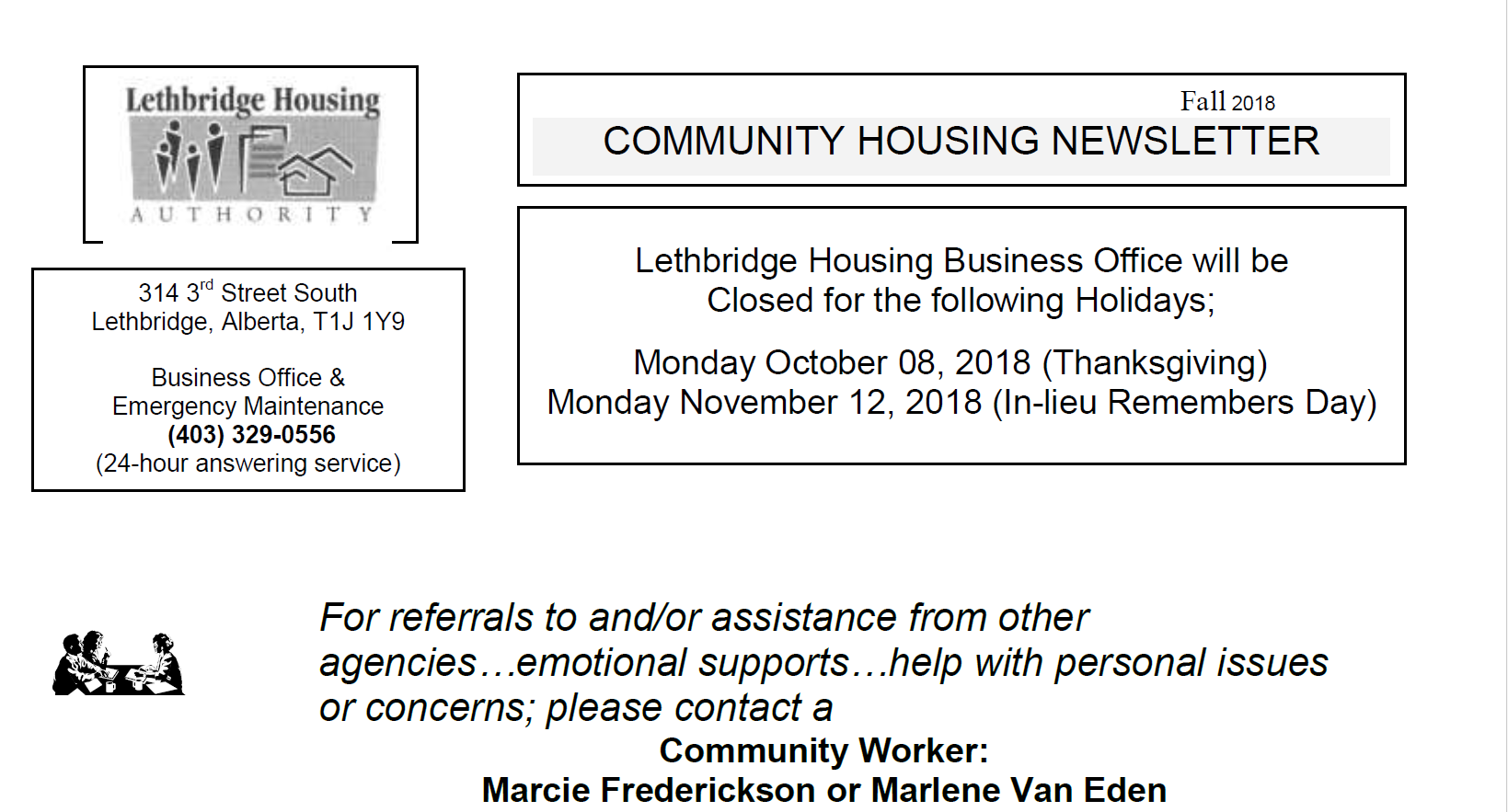 Community Housing Fall 2018 Newsletter