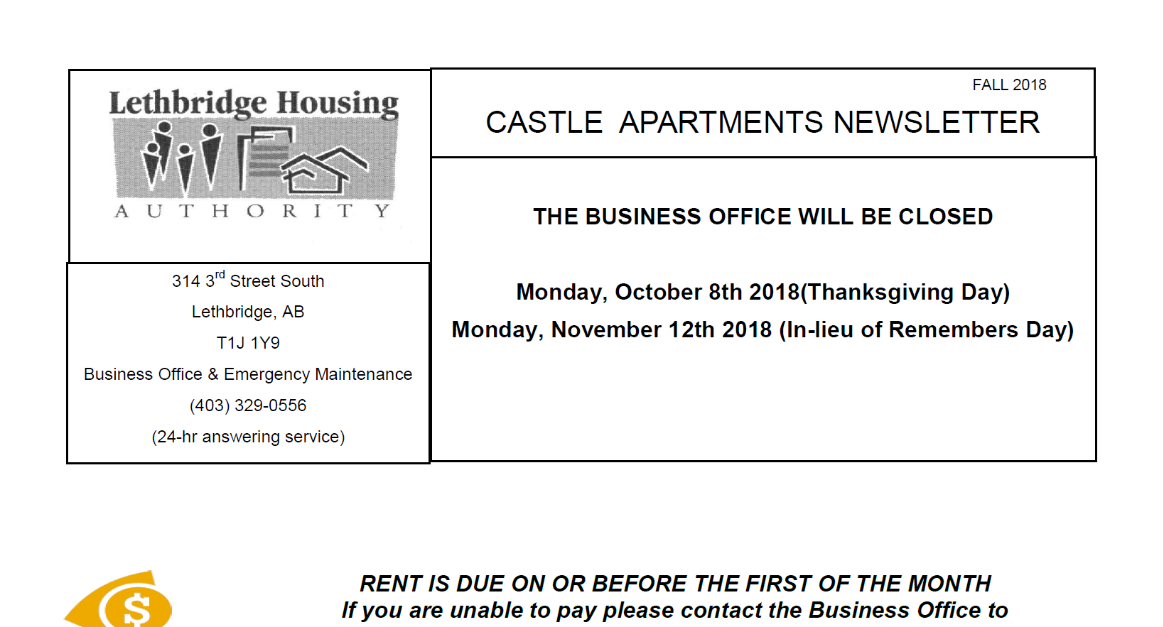 Castle Apartments Fall 2018 Newsletter