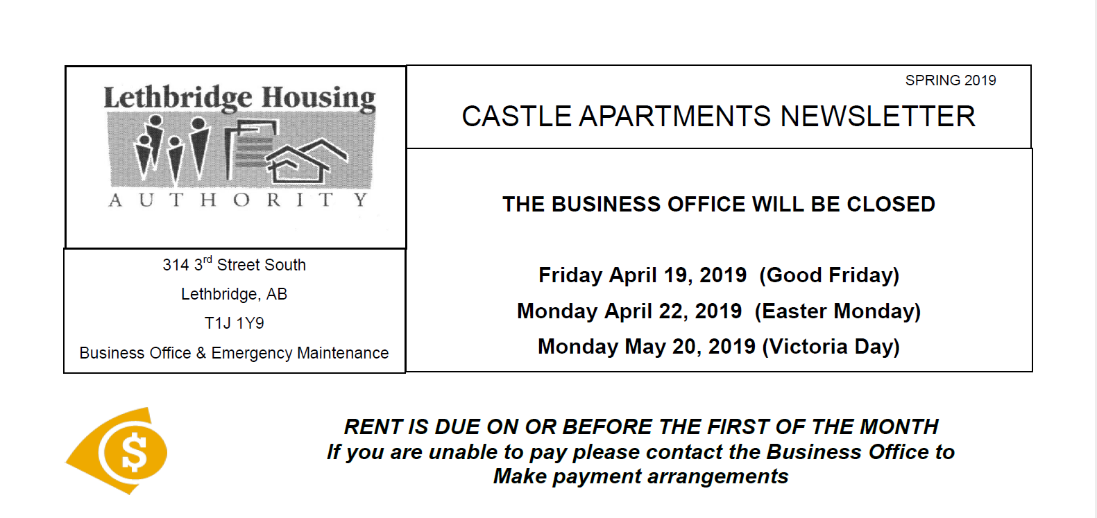 Castle Apartments Spring 2019 Newsletter