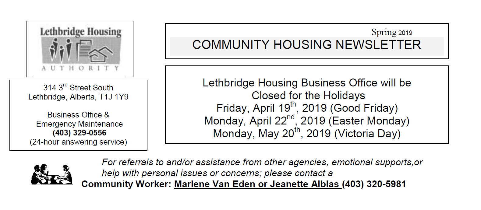 Community Housing Spring 2019 Newsletter