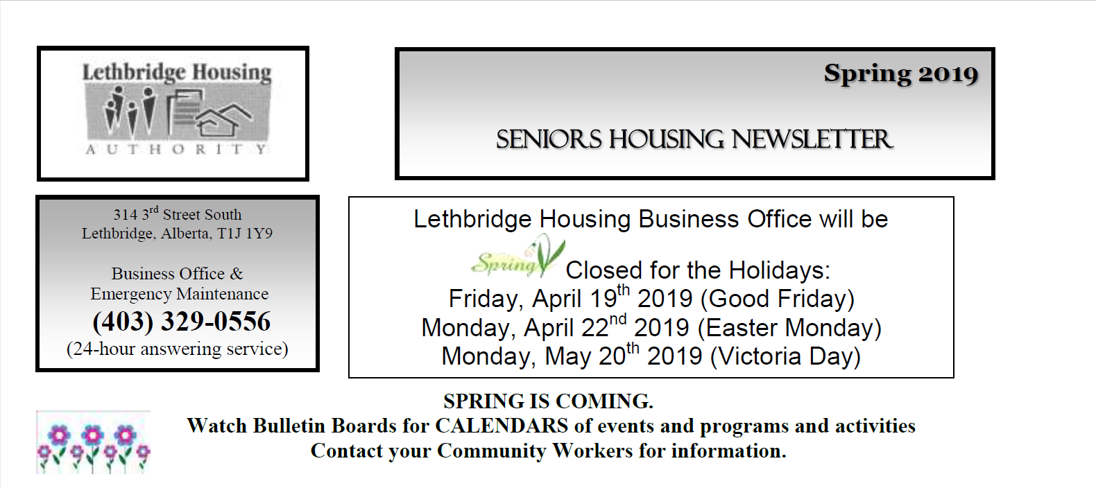 Seniors Self-Contained Spring 2019 Newsletter