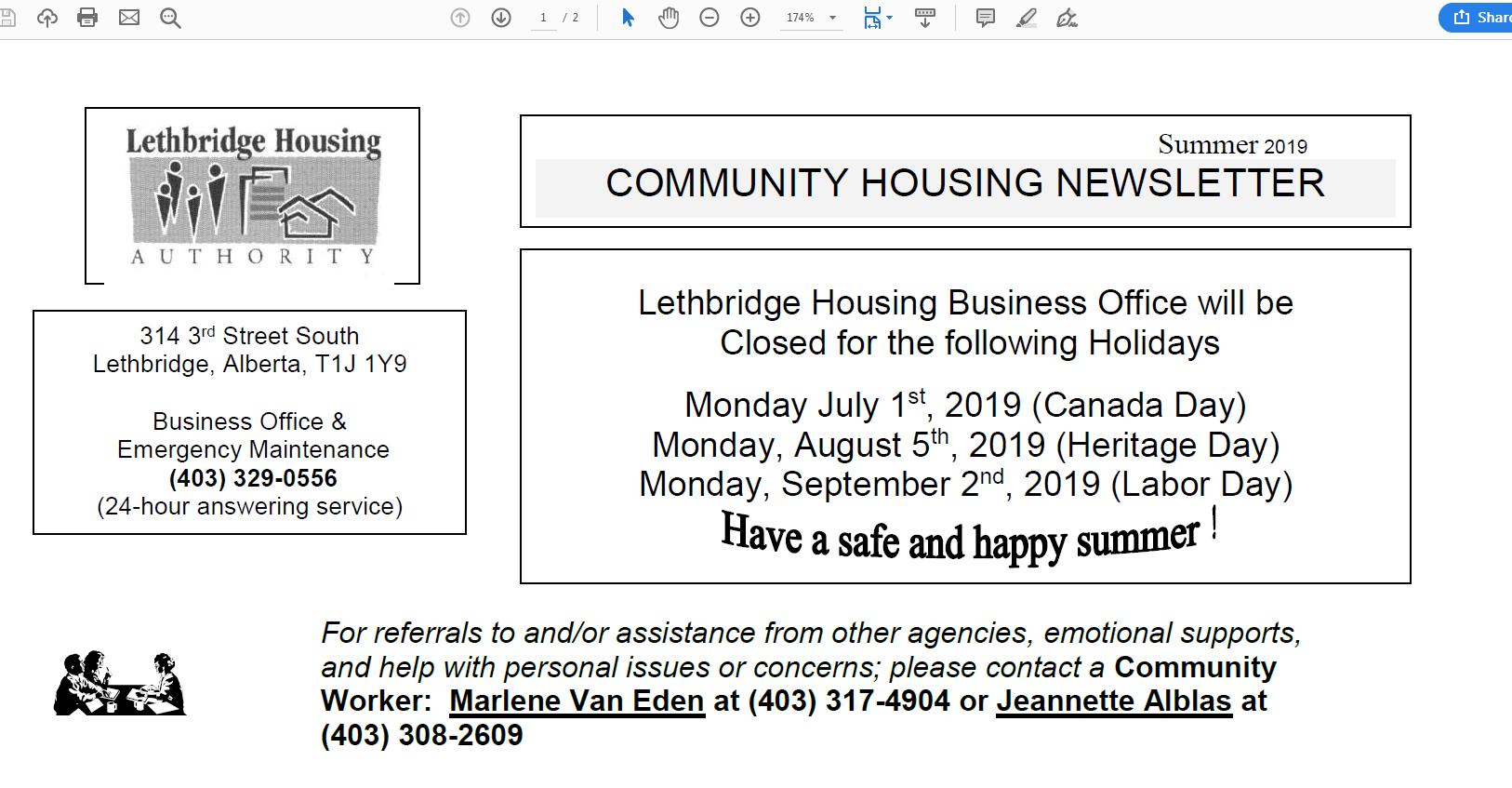 Community Housing Summer 2019 Newsletter