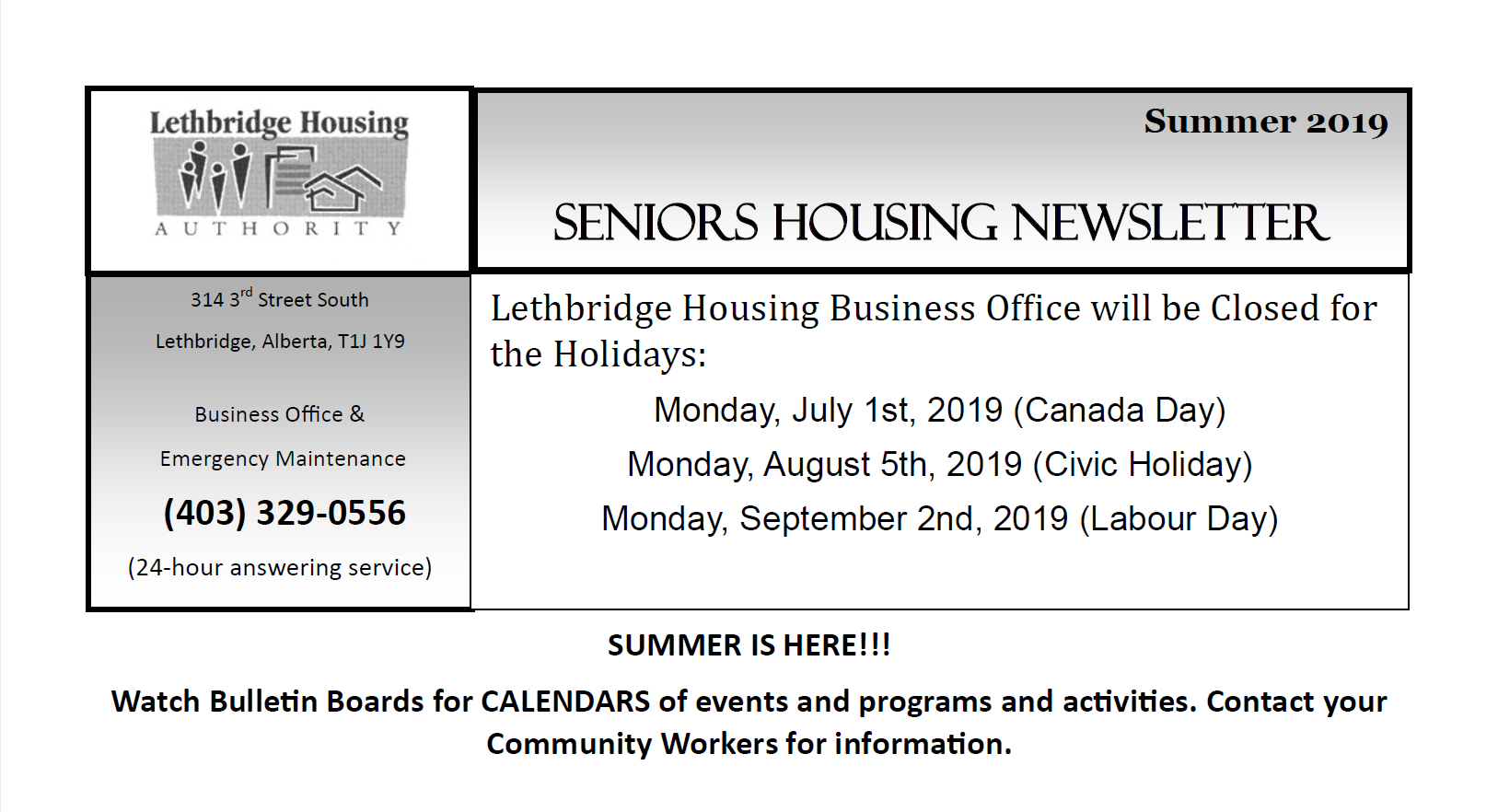 Seniors Self-Contained Summer 2019 Newsletter