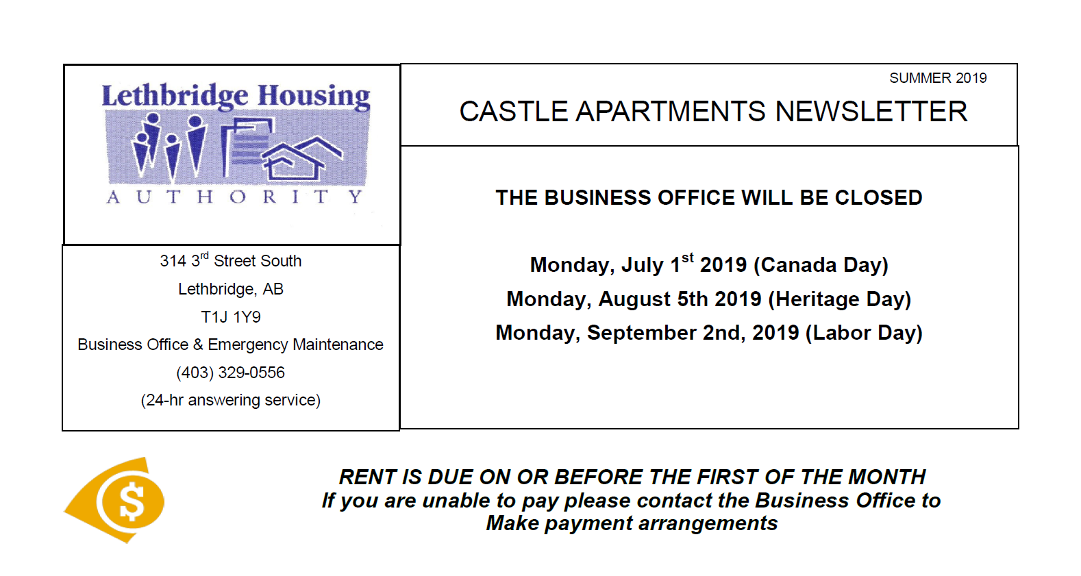 Castle Apartments Summer 2019 Newsletter