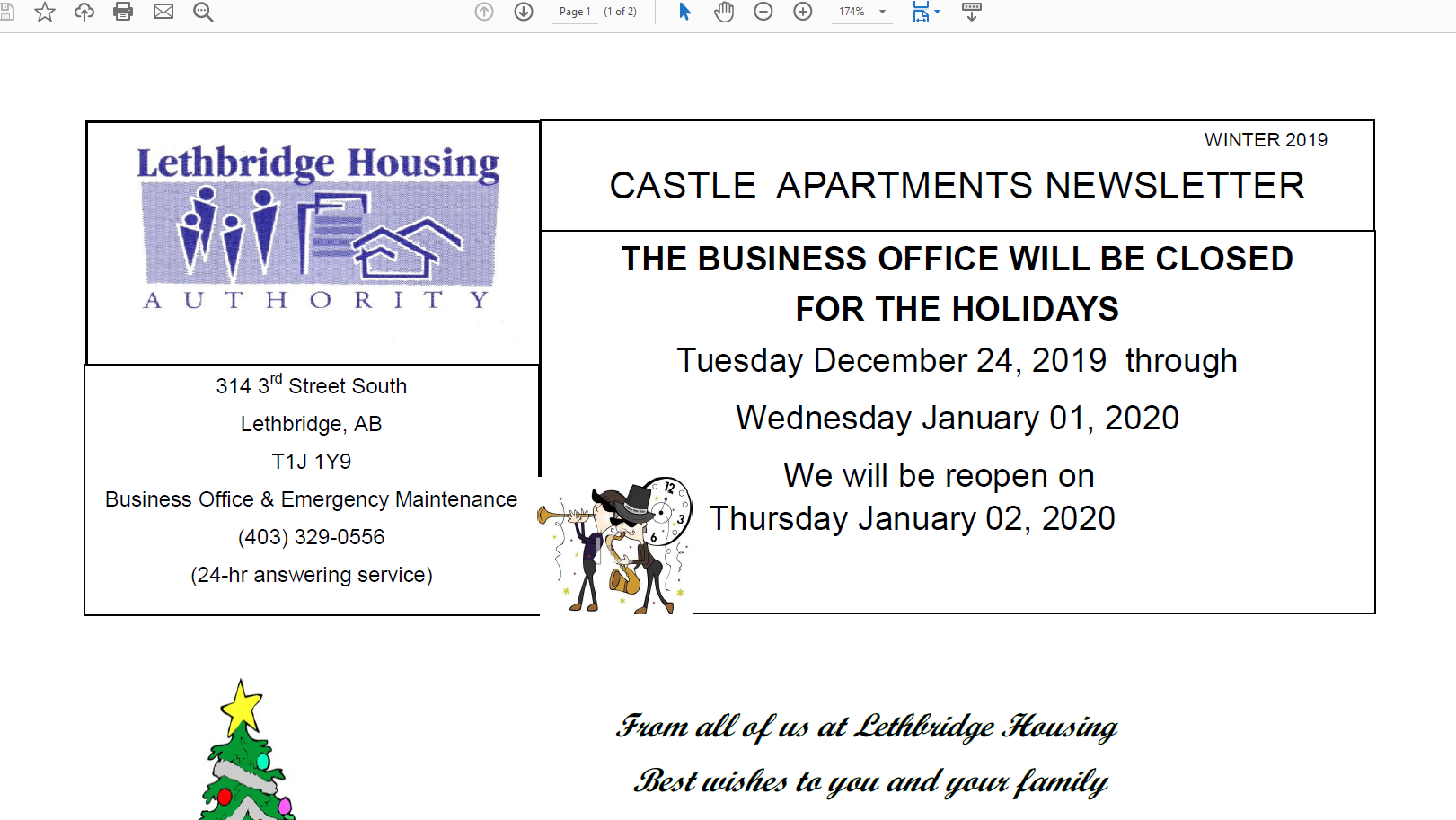 Castle Apartments Winter 2019 Newsletter
