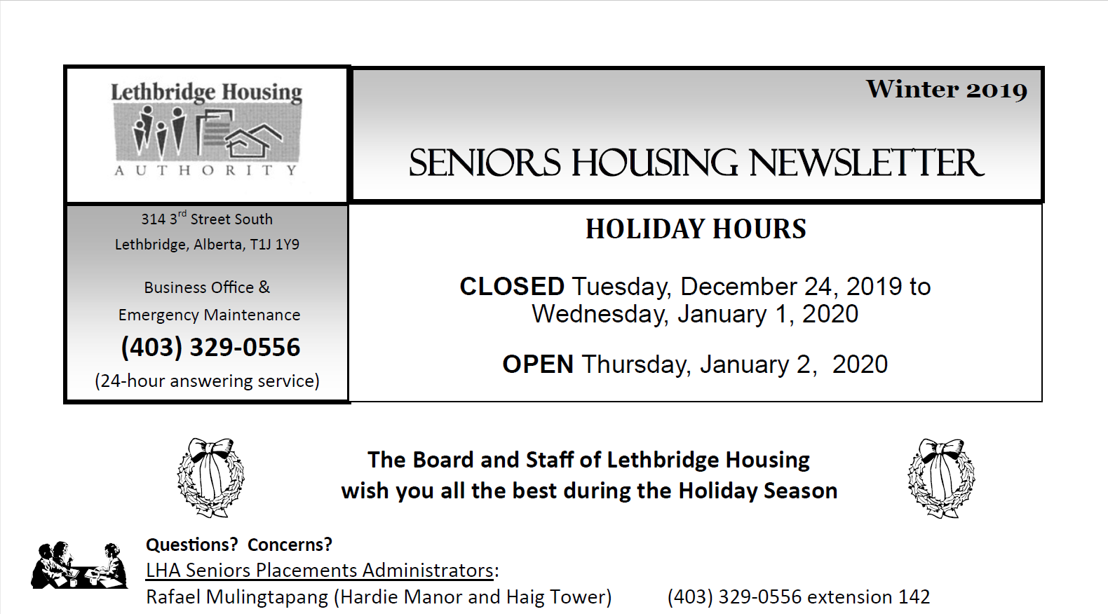 Seniors Housing Winter 2019 Newsletter